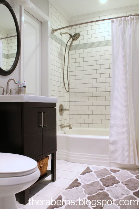 Small Bathroom Renovation White Subway Tiled Shower