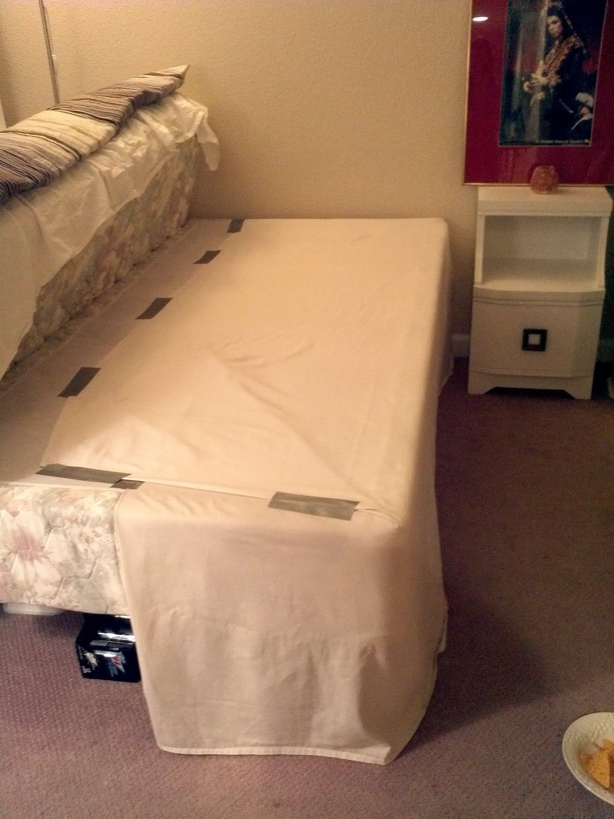 DIY bed skirt to hide risers BEDROOM Pinterest