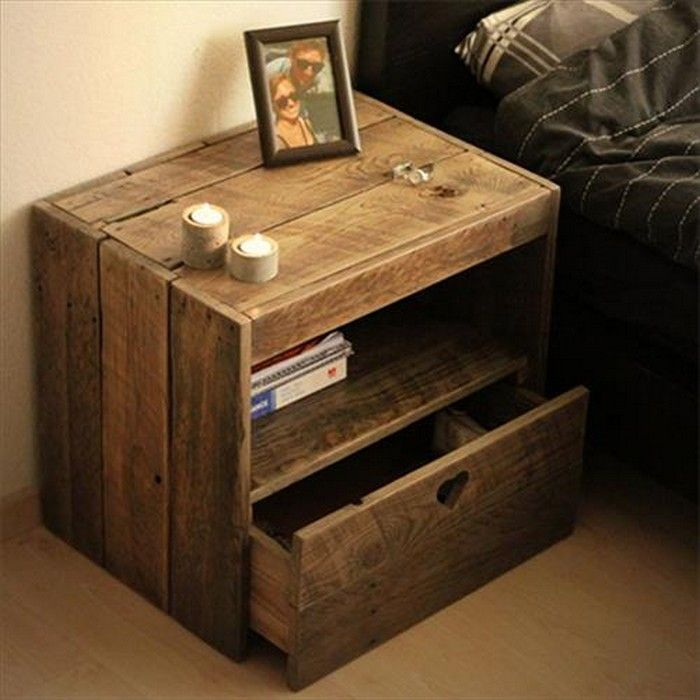 Diy pallet wood side table plans pallet side table and for Side table plans