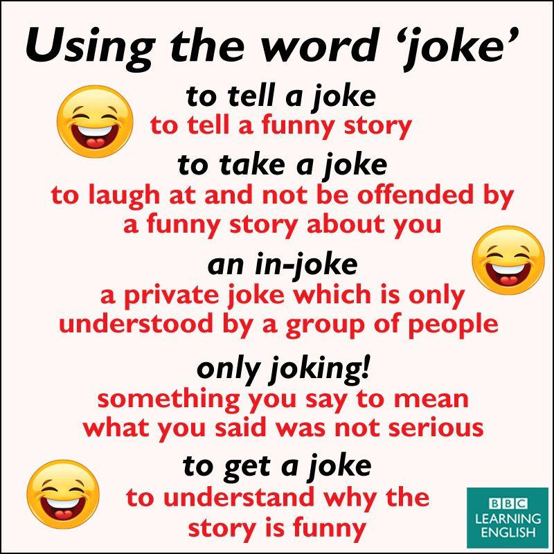 Using The Word Joke Learnenglish English Phrases English Jokes Words