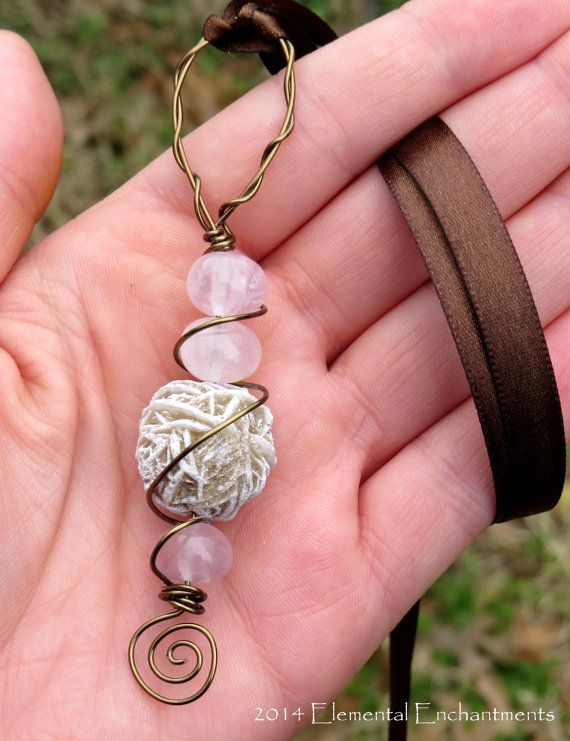 Desert Rose Sand Crystal Amulet With Rose by ElementalEnchantress, $20.00