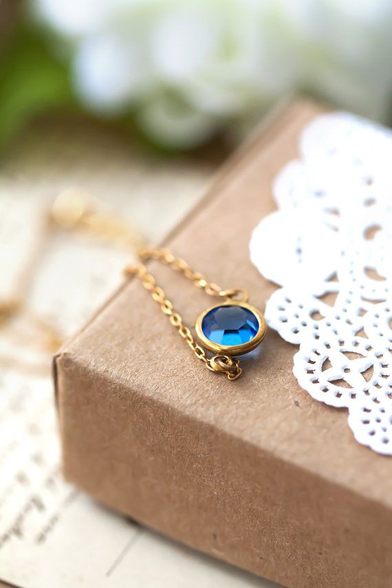 Sapphine Blue Pendant Necklace Simple Jewelry Gift For Her Mom Sister Aunt Under 20 Dollars