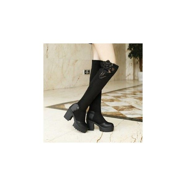 Platform Block Heel Over the Knee Boots (€79) ❤ liked on Polyvore featuring shoes, boots, footware, over-the-knee boots, high heel platform boots, thigh high heel boots, over knee boots, over the knee high heel boots and red thigh boots