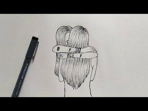 Comment dessiner les meilleurs amis facilement   Pas à pas - YouTube