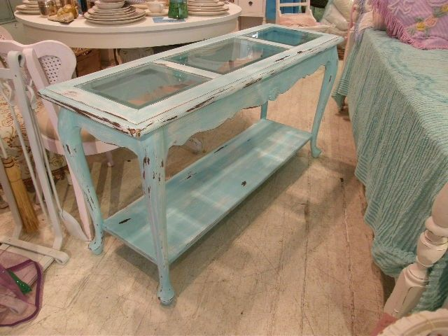 Really Want A Distressed Blue Sofa Table Something Like This Shabby Chic Cottage