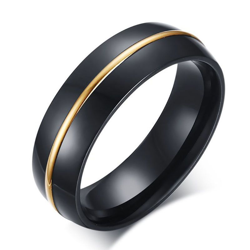 Details about Men Women Stainless Steel Wedding Engagement Black Band Ring Size7-12