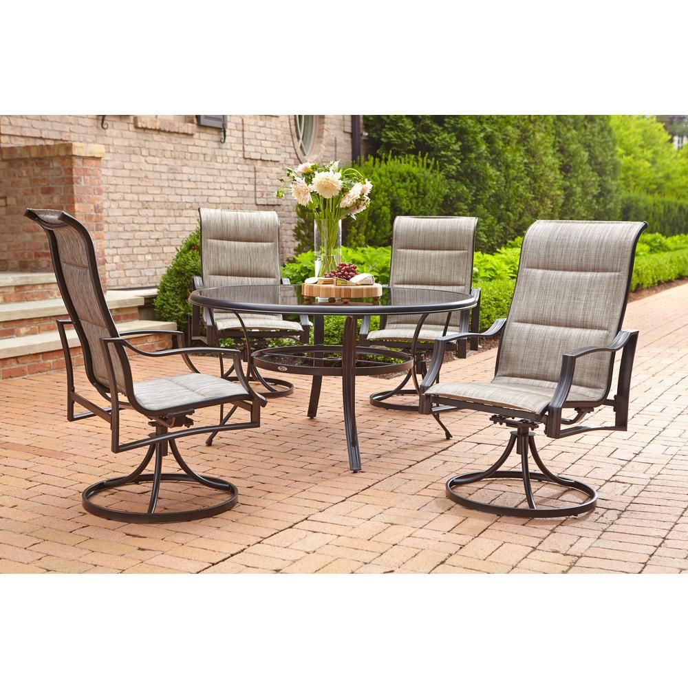 Hampton Bay Statesville Pewter 5 Piece Aluminum Outdoor Dining Set Fca70357ds St 2 The Home Depot Patio Dining Furniture Outdoor Dining Set Dining Furniture