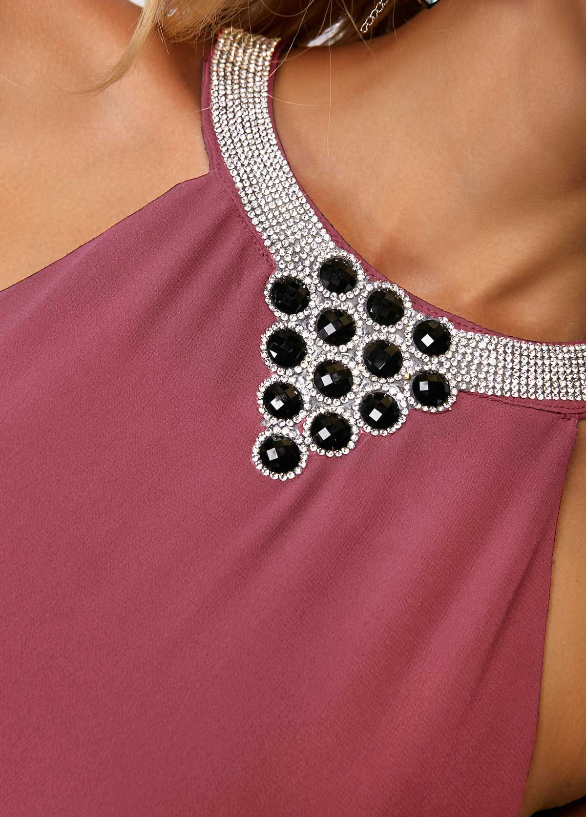 4b3e5b65780 Asymmetric Hem Chiffon Overlay Embellished Neck Dress
