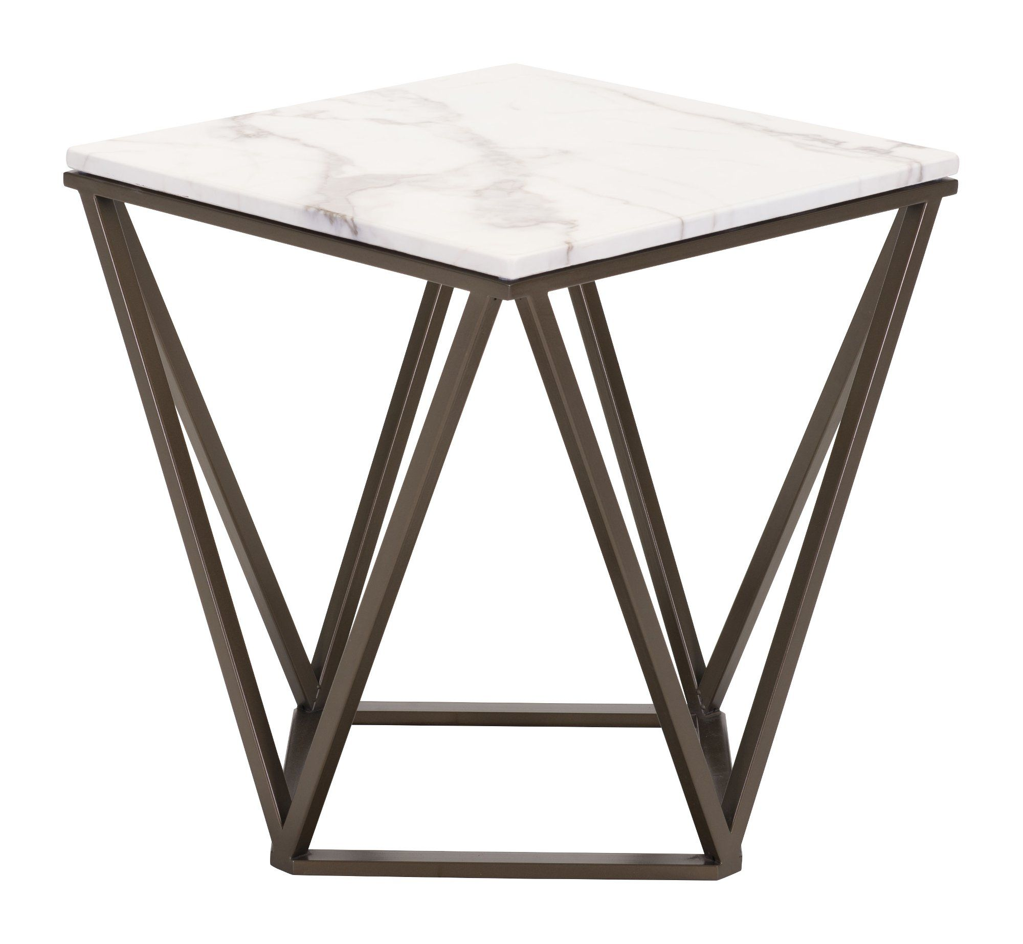 Contemporary Geometric Stone And Brass End Table Tintern