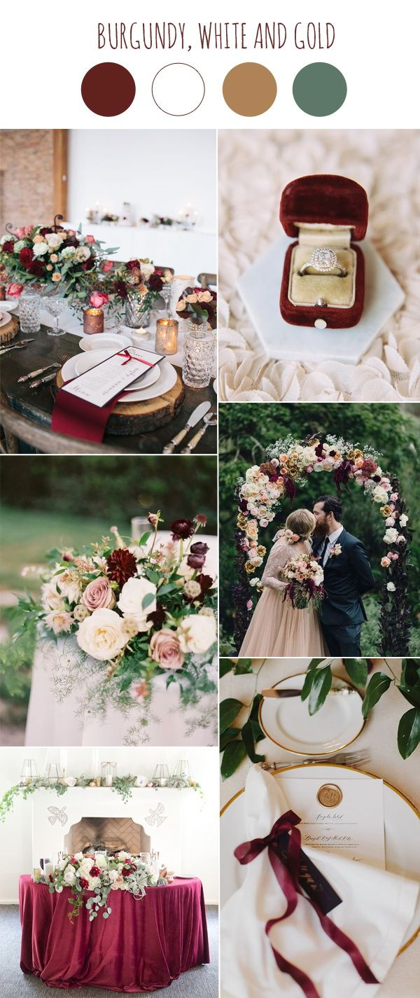 Wedding decoration ideas peach   Wedding Color Scheme Trends Burgundy and White  Winter colors