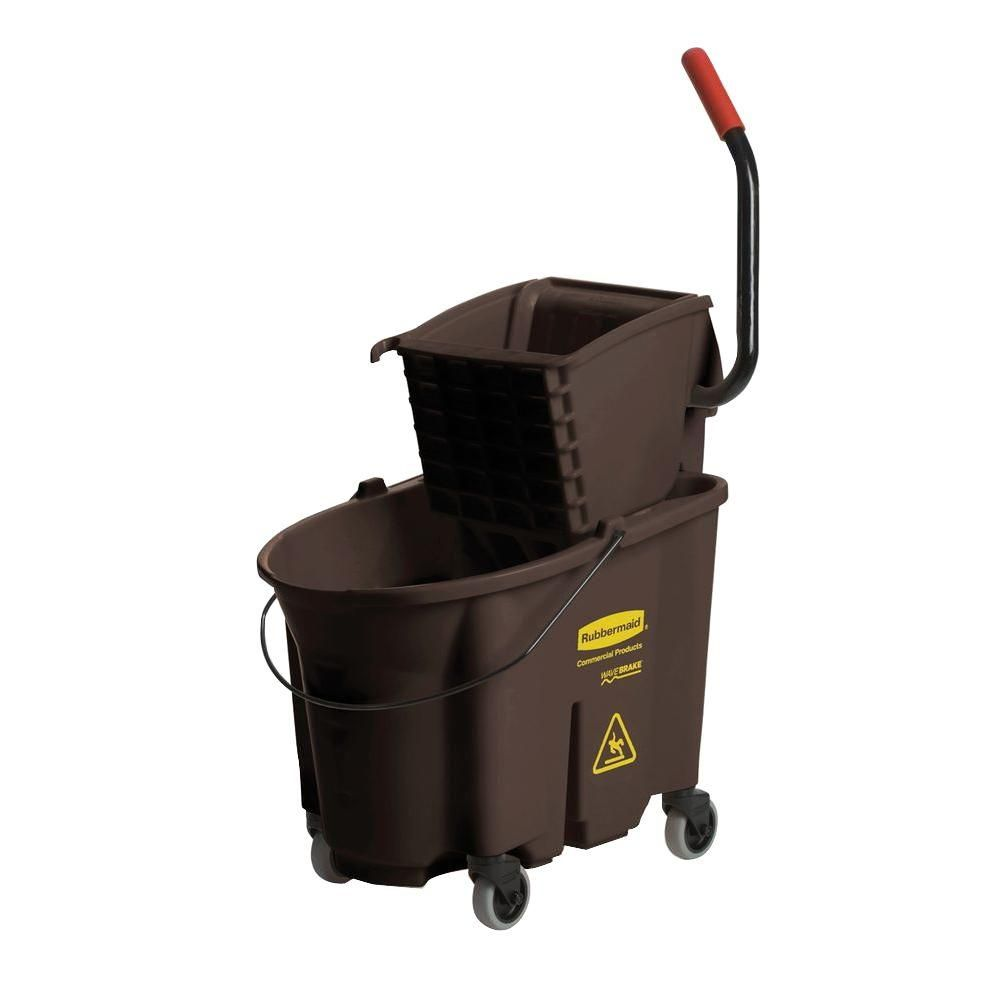 Wave Brake 35 Qt Brown Side Press Combo Mop Bucket And