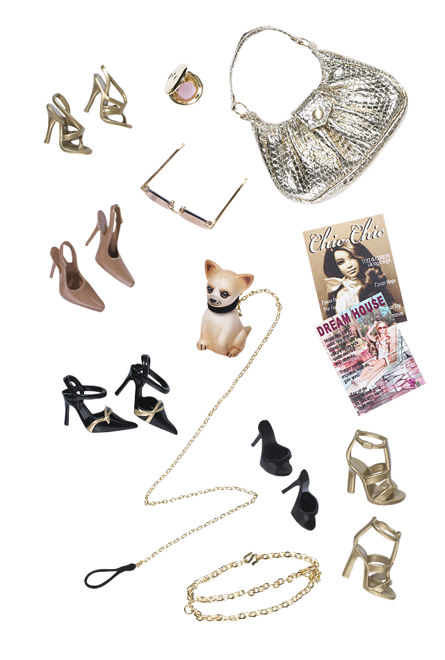 Barbie Magazines, shoes, handbag, shades and a doggie!  LOL #dollaccessories