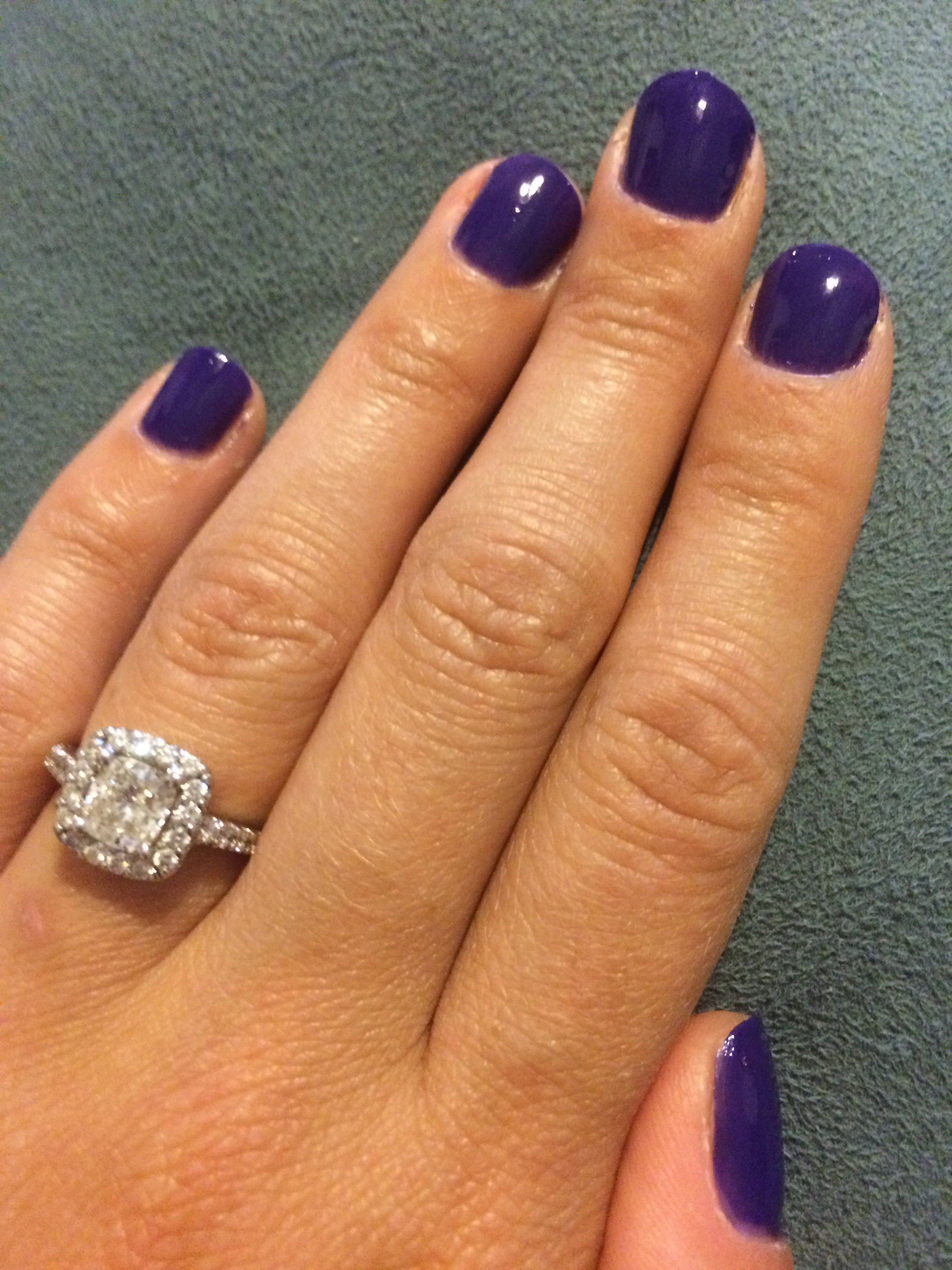 Opi Do you have this color in stock-holm. Nordic collection.  Purple nails cushion cut ring