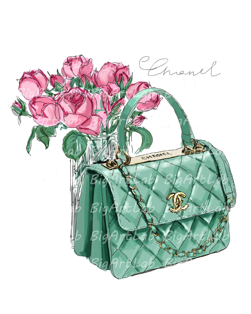 Instant download chanel bag psd files clipart wall art