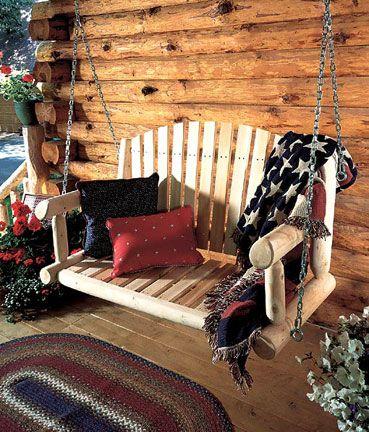 Log Porch Decor Google Search Cabin Decor Log Cabin Decor Rustic Porch Swing