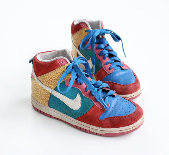 vintage 90's MULTI COLOR nike hi top suede pattern shoes 6