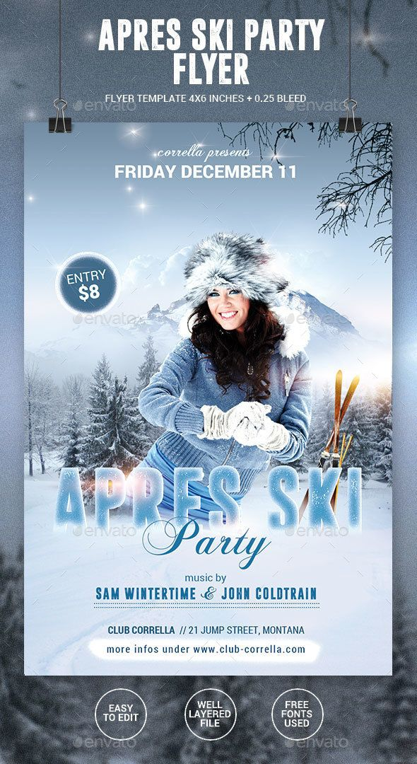 Apres Ski  Winter Party Flyer  Winter Parties Party Flyer And