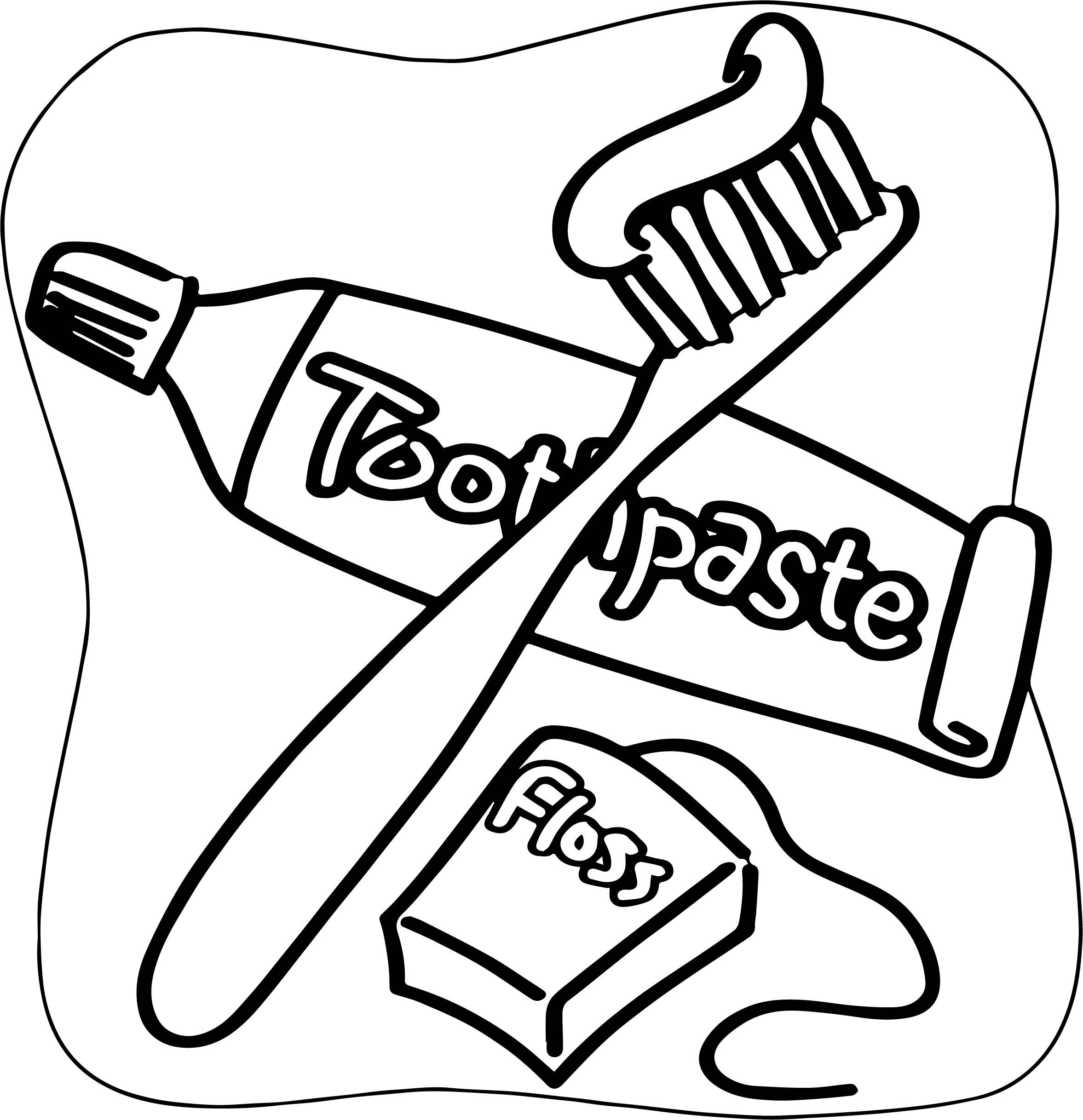 Nice Dental Floss Brush Toothpaste Coloring Page Dental Floss Floss