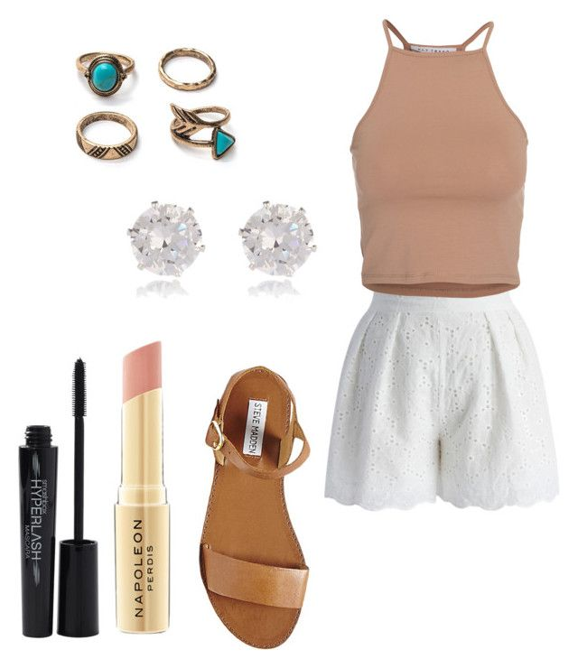 """""""beige is almost my favorite color"""" by sashten ❤ liked on Polyvore featuring Chicwish, NLY Trend, Steve Madden, River Island, Napoleon Perdis and Smashbox"""