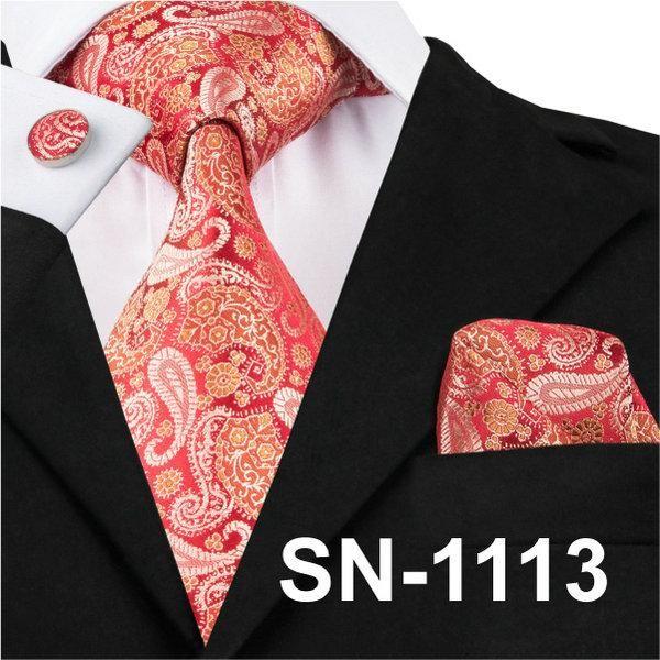 Silk Red Stripe Men Fashion Necktie With Cufflinks Hanky Men Wedding Tie Set