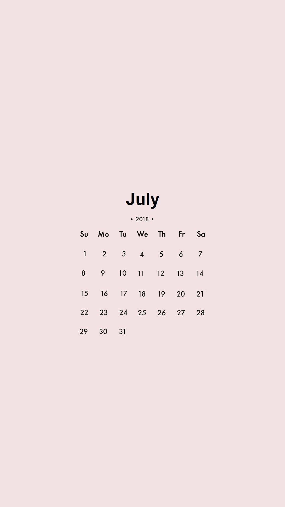 July 2018 IPhone Calendar Locked Wallpaper S Colorful Screen