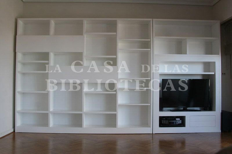 Biblioteca Moderna Laqueada Blanca para TV Muebles Pinterest - bibliotecas modernas en casa