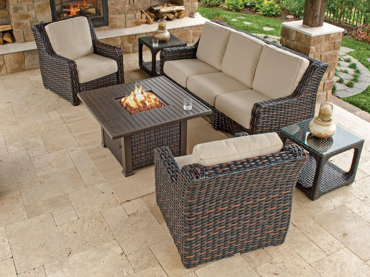 Tangiers 4 Pc Aluminum Resin Wicker Fire Pit Sofa Group