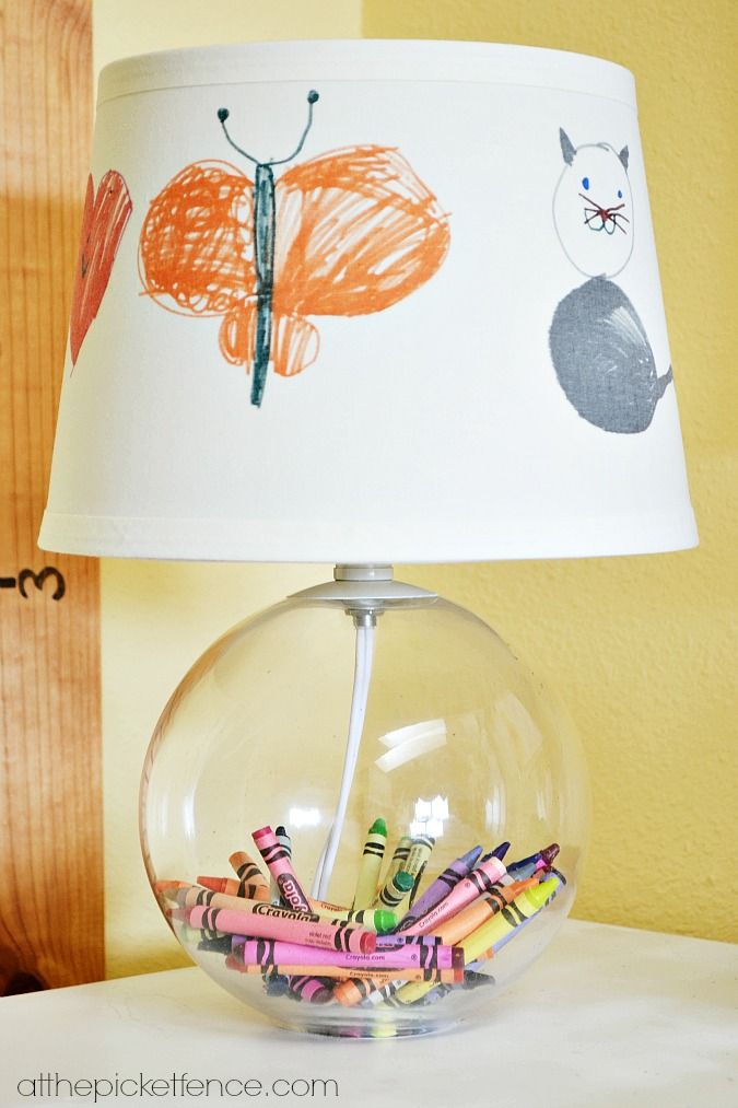 Lamp Filled With Crayons And Child Colors The Shade. Great For A Kids Room  Or Play Room.