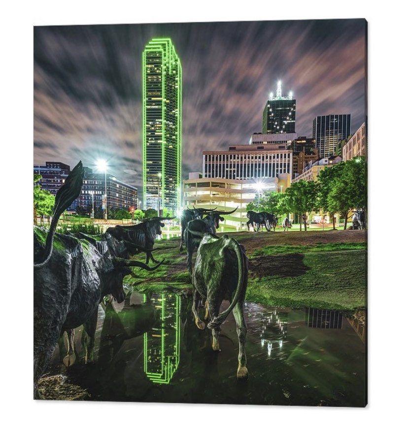 Cattle Drive Sculptures, Texas Longhorns, Dallas Skyline