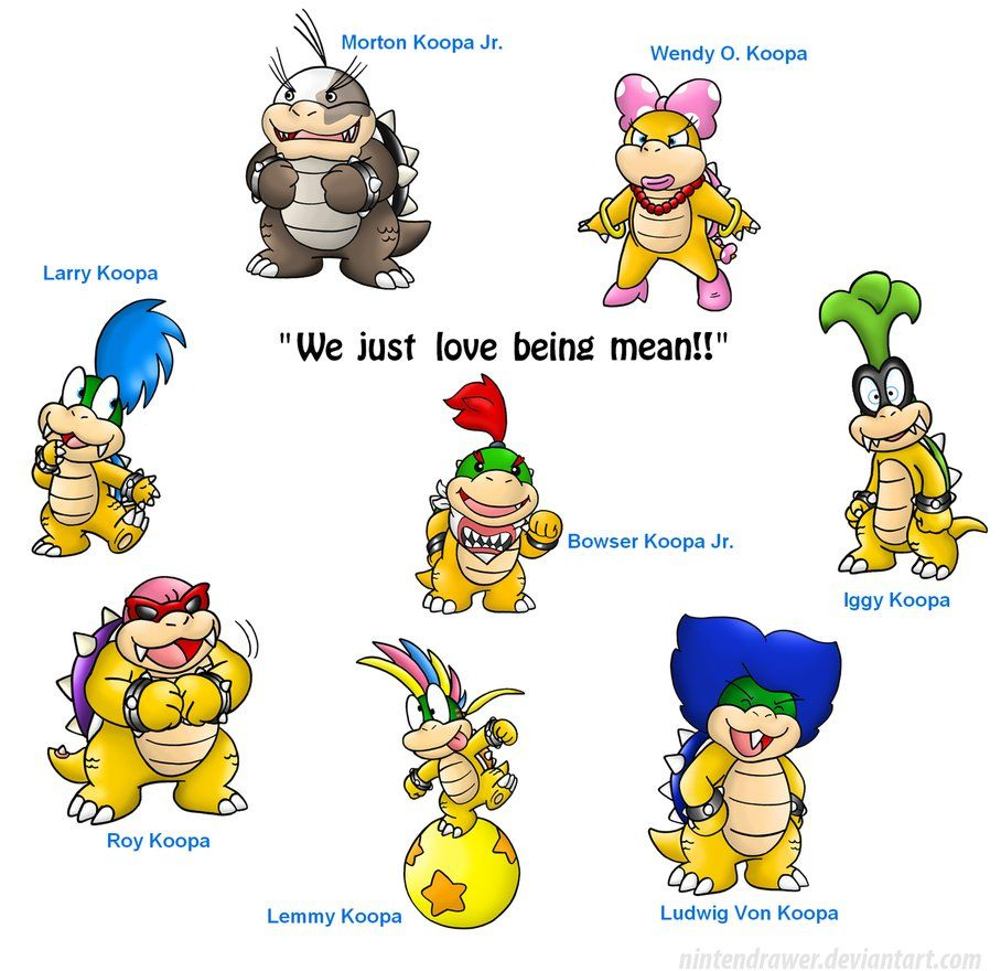 images of bowser his kids and peach These are Bowser's