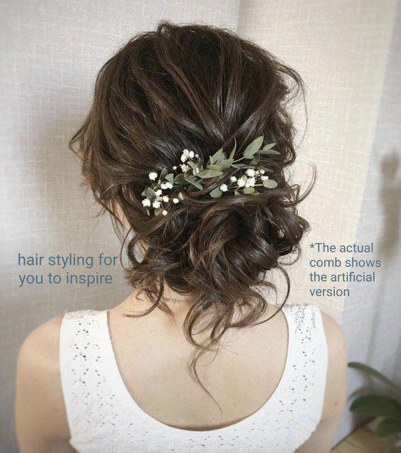 Greenery Hair Comb Babies Breath Comb Green Leaves Hair Accessory Bridal H In 2020 Fall Wedding Hairstyles Romantic Wedding Hair Wedding Hairstyles For Long Hair