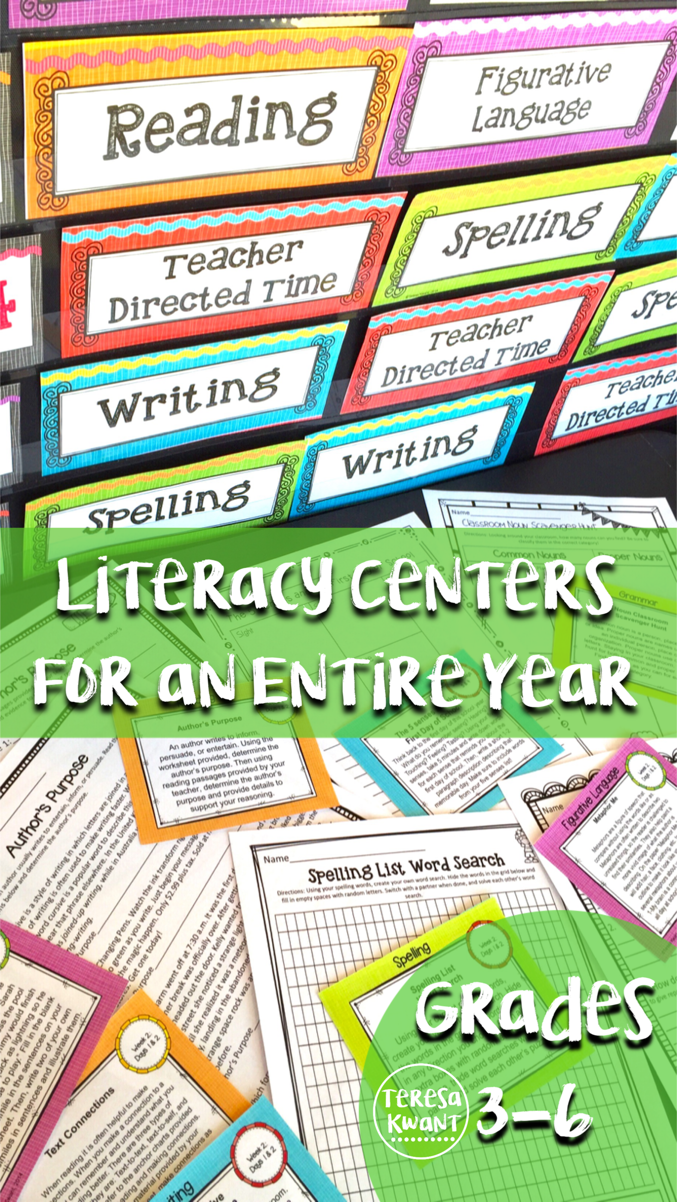 Monthly Themed Literacy Centers For 3rd 4th 5th And 6th Grade Bundle