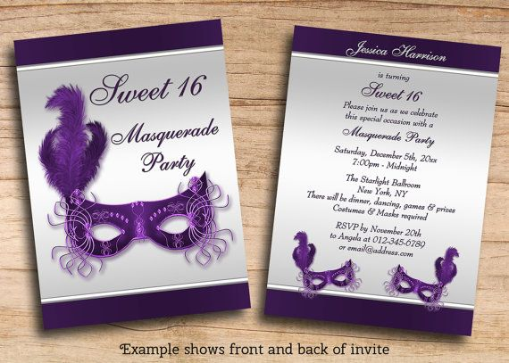 Printable Sweet 16 Masquerade Party Invites By MollySkyInvitations