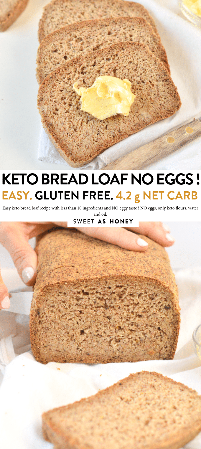 Keto Bread Loaf No Eggs Low Carb With Coconut Flour Almond Meal Psyllium Husk And Flaxmeal A Delic Almond Recipes Lowest Carb Bread Recipe Best Keto Bread