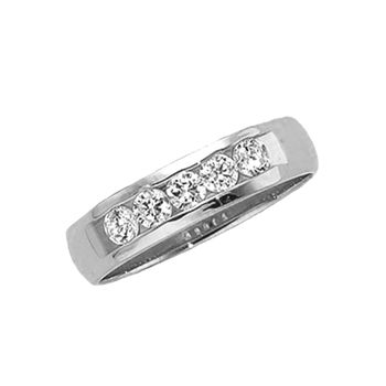 925 Sterling Silver White Diamond Gents Channel Set 5-Stone Wedding Band - 0.62 Cttw (G H,Si3)