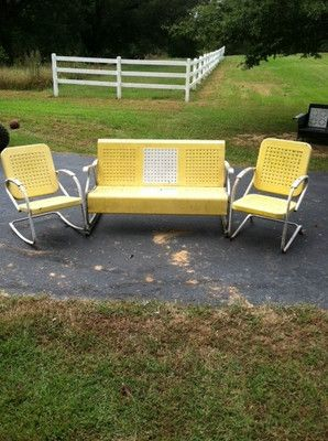 Excellent Vintage Mid Century Metal Porch Glider Set Vintage Outdoor Caraccident5 Cool Chair Designs And Ideas Caraccident5Info