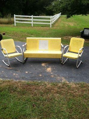 vintage mid century metal porch glider set