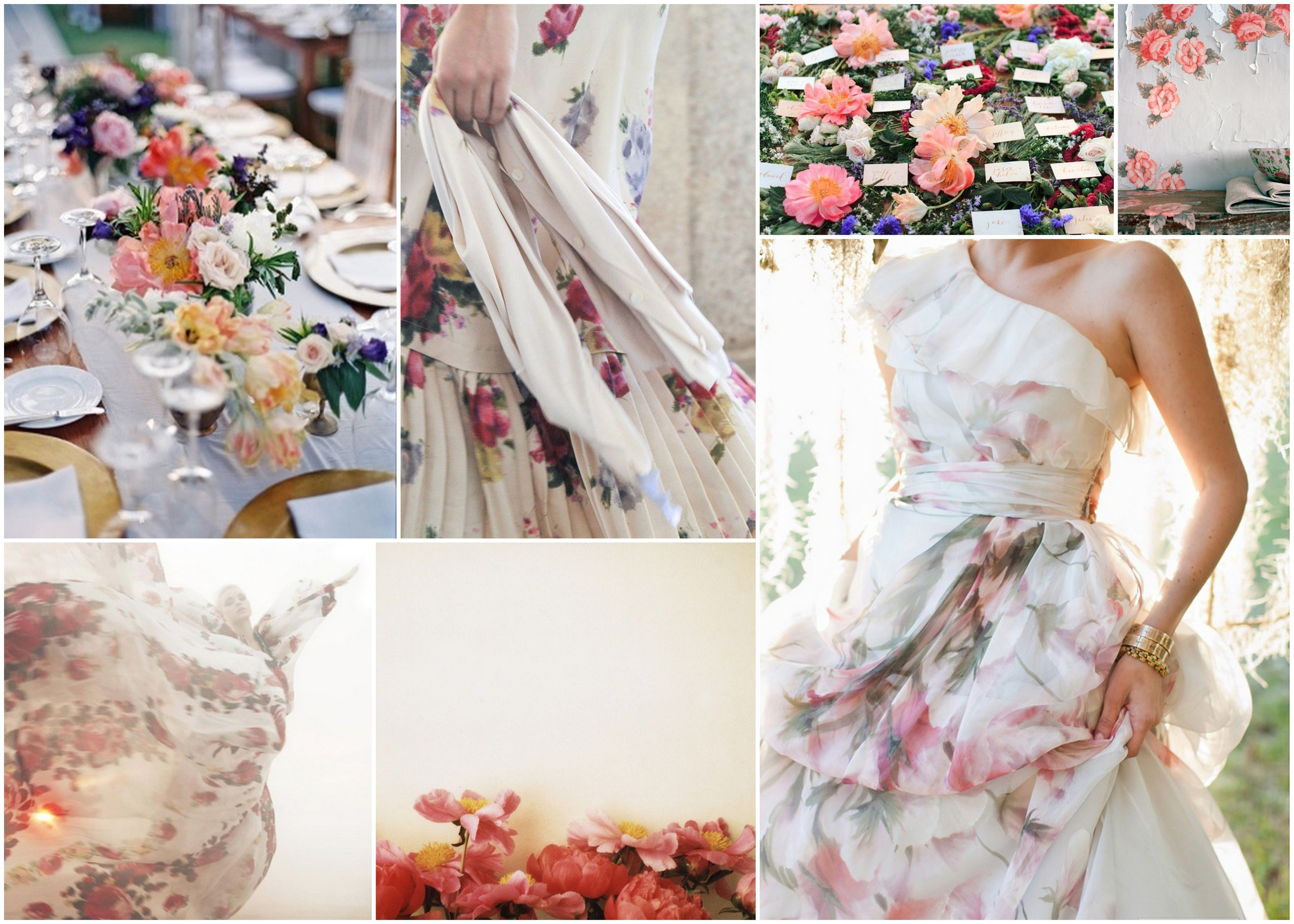 Floral print wedding dresses  dreaming of flowers  Wed  Pinterest  Wedding and Wedding