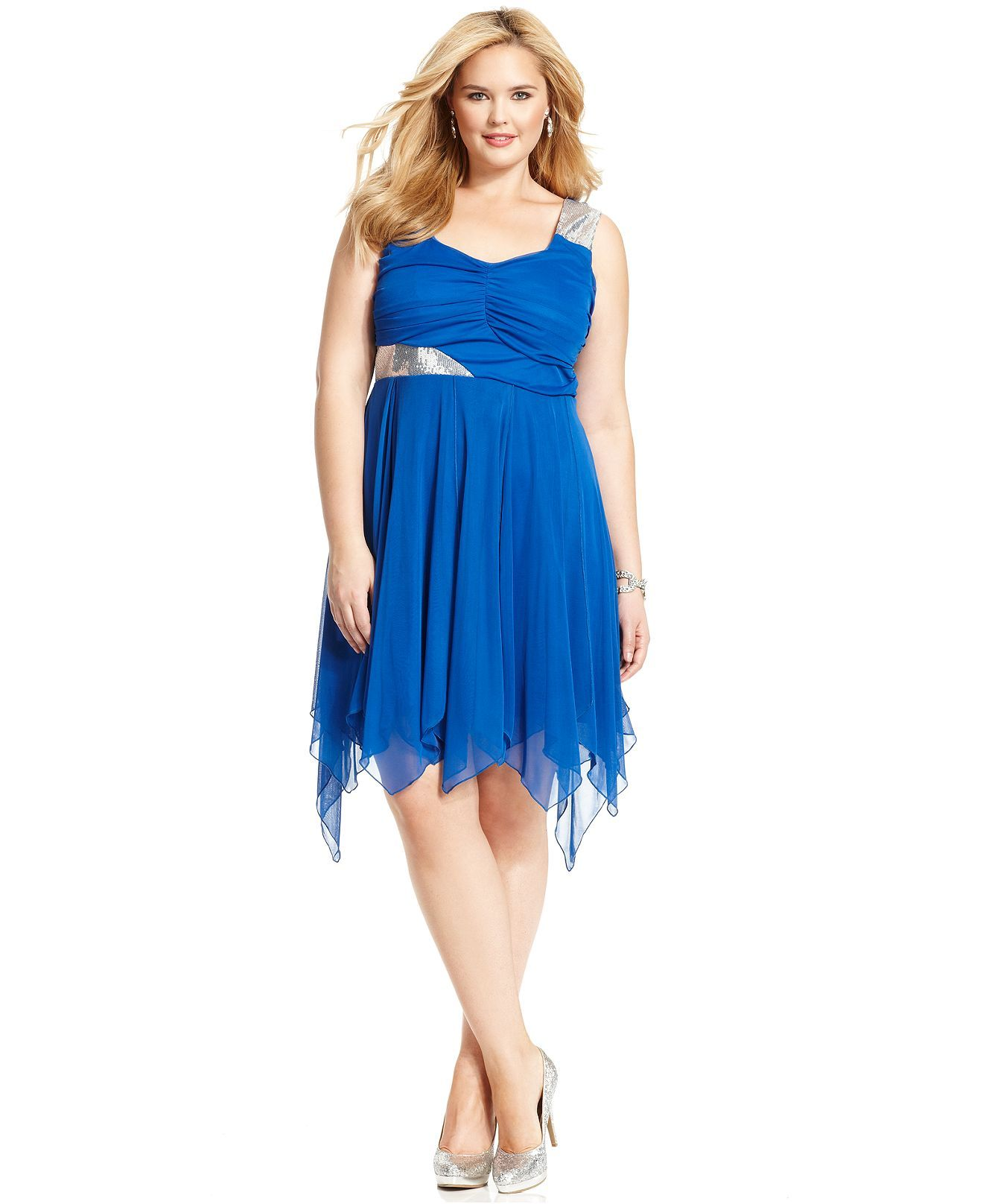 ruby rox plus size sleeveless ruched sequin dress - plus size