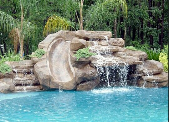 Merveilleux Swimming Pool Design Waterfall With Slide. Add More Greenery Around Slide.  No Prob.