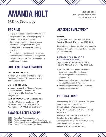 Academic Resume White Minimalist Academic Resume  Resume  Pinterest  Cv Ideas And