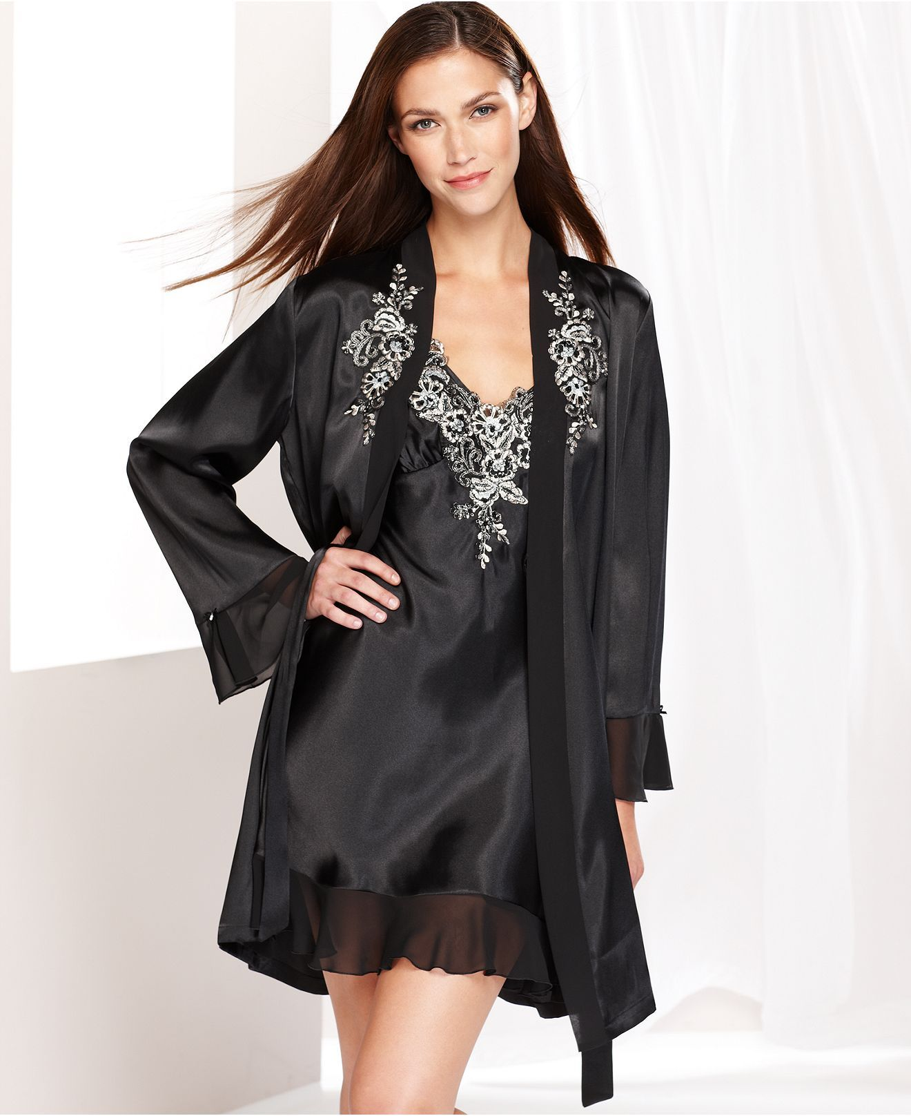 e35890abf6 Linea Donatella Lisette Wrap and Chemise - Bridal Sleepwear - Women - Macy s