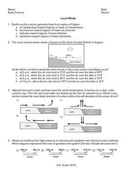 worksheet local winds monsoons editable earth science regents resources worksheets. Black Bedroom Furniture Sets. Home Design Ideas