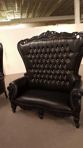 isaiah luxury furniture victorian high back throne chair loveseat room for two black on black