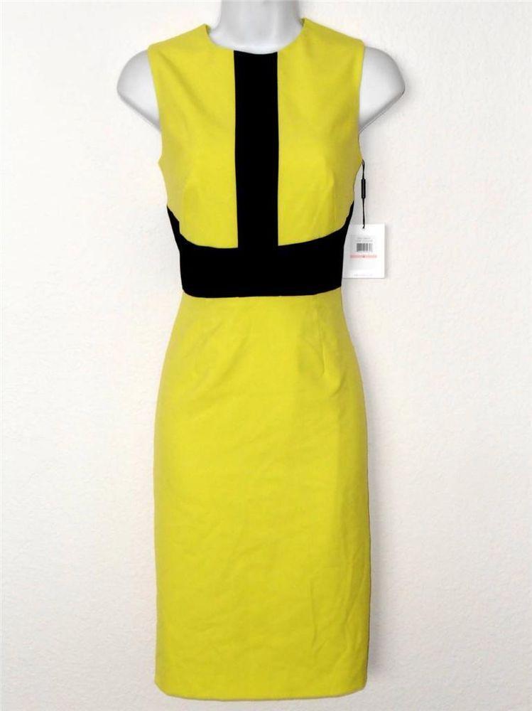 1a27b908ab44 Calvin Klein Dress Size 10 Neon Yellow Black Block Stripe Stretch Sheath  NWT #CalvinKlein #Sheath #Cocktail