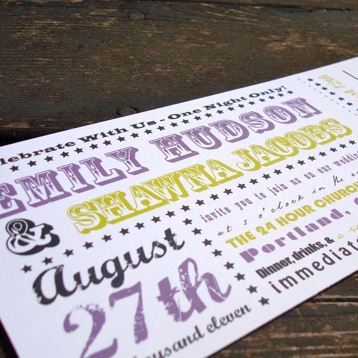 Concert Ticket Wedding Invitation Sample - concert ticket invitations