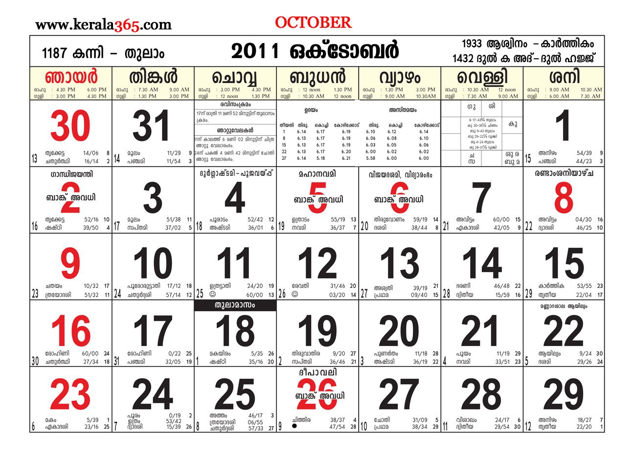Blank Calendar October 2018 Pdf Printable Malayalam Manorama