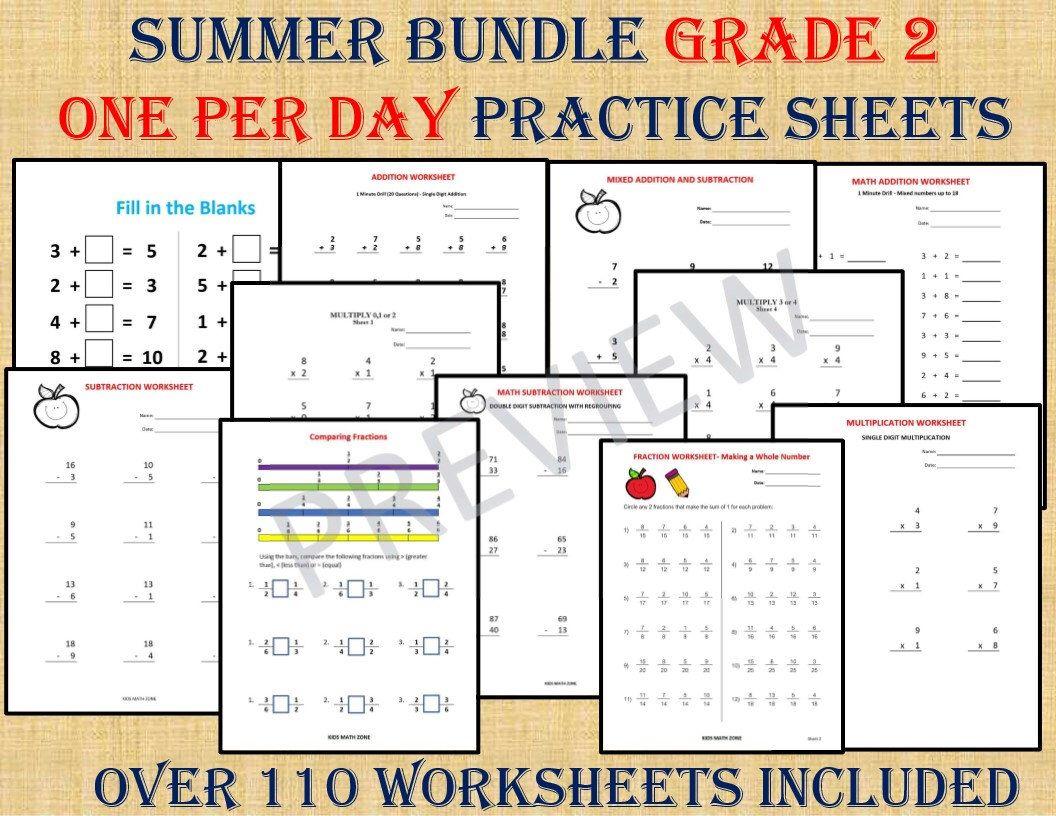 Summer Bundle Grade 2 One Per Day Over 110 Worksheets