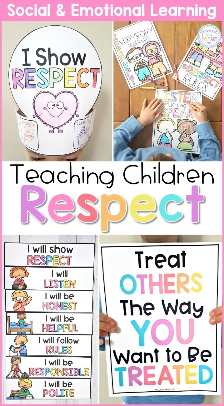 Teach children about respect, honesty, and gratitude at school and in the classroom with these social emotional learning lessons and hands-on activities for kids. Children will build social skills with picture books and writing lessons, respect games, role playing, and more. #sel #socialemotionlearning #classroommanagement #charactereducation #socialskills #teachingrespect #respectactivities