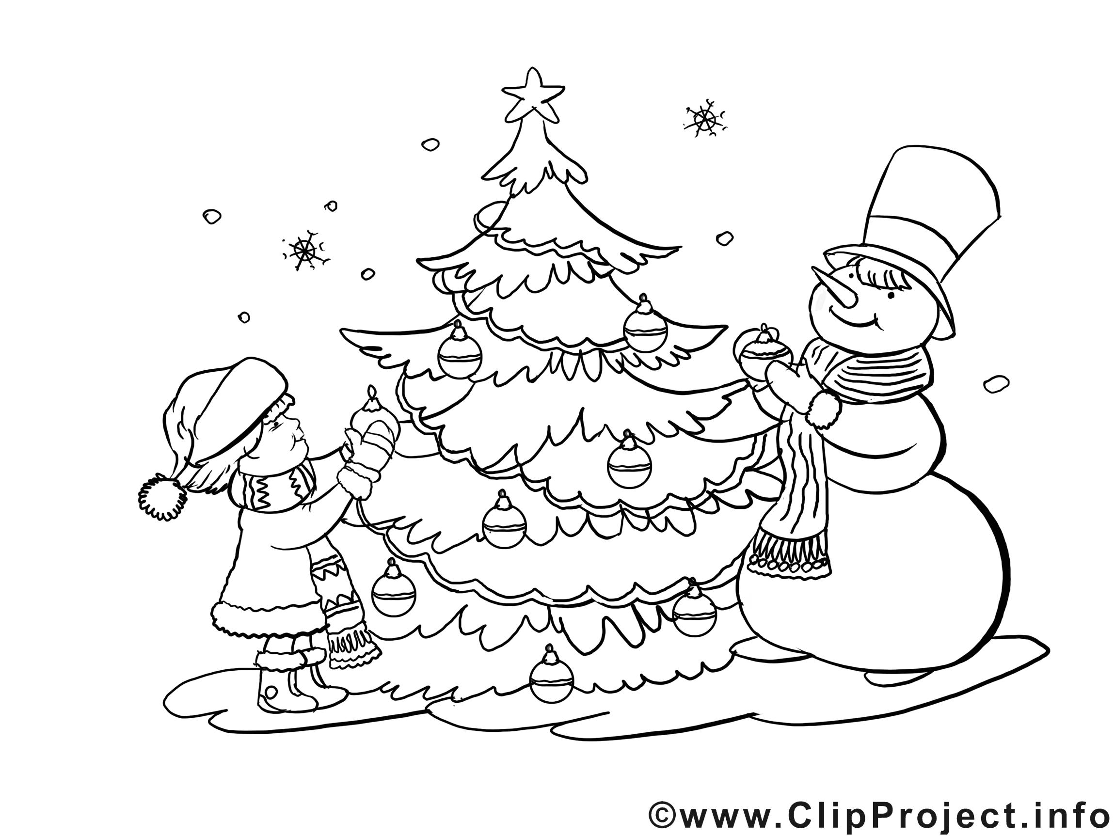Malvorlage Advent mit Weihnachtbaum, Kinder und Schneemann ...